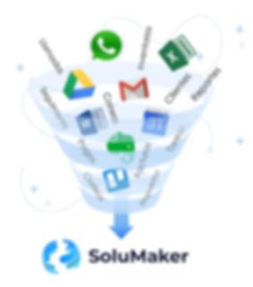 WhatsApp, Google Drive, Tello, Excel, Word, Gmail, Calendario. Usa solo Solumaker.