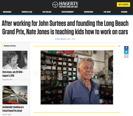 After Working for John Surtees and Founding the Long Beach Grand Prix, Nate Jones is Teaching Kids How To Work on Cars