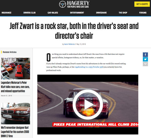 Jeff Zwart is a rock star, both in the driver's seat and director's chair