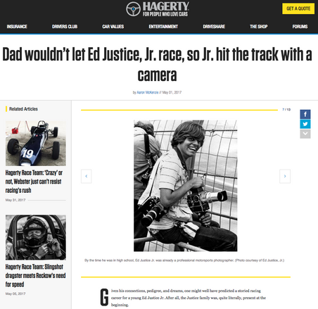 Dad wouldn't let Ed Justice, Jr. race, so Jr. hit the track with a camera
