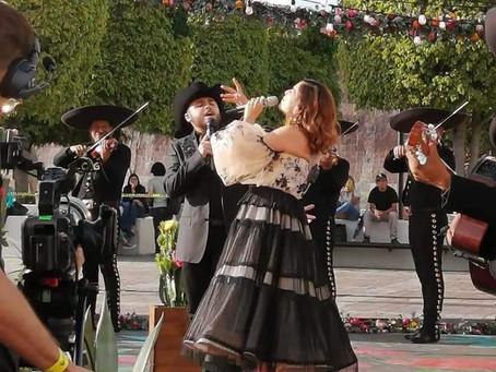 NATALIA JIMÉNEZ Y GERARDO ORTIZ GRABAN VIDEO EN LEÓN GTO.