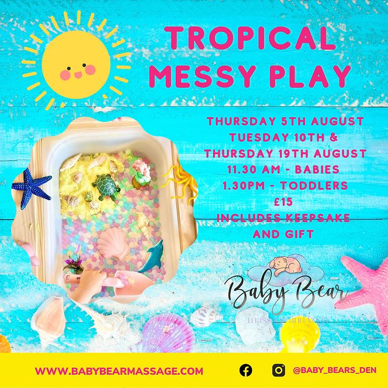 Tropical theme messy play