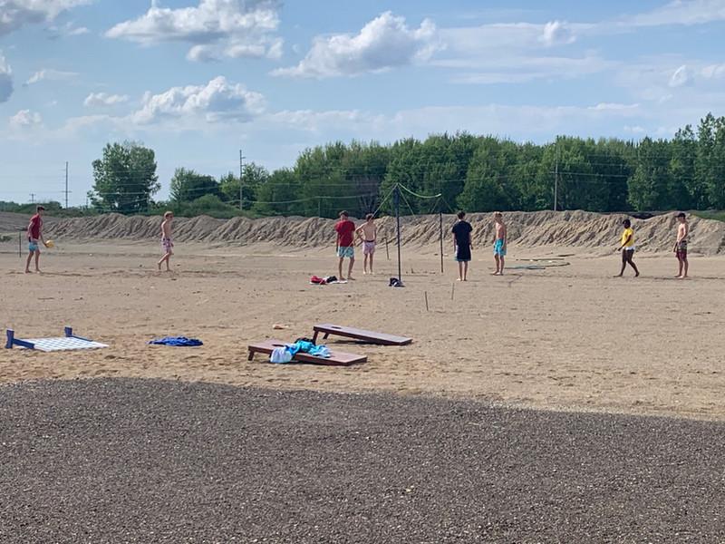 Beach VB and cornhole