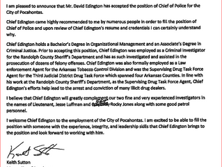 Pocahontas Mayor Names New Police Chief
