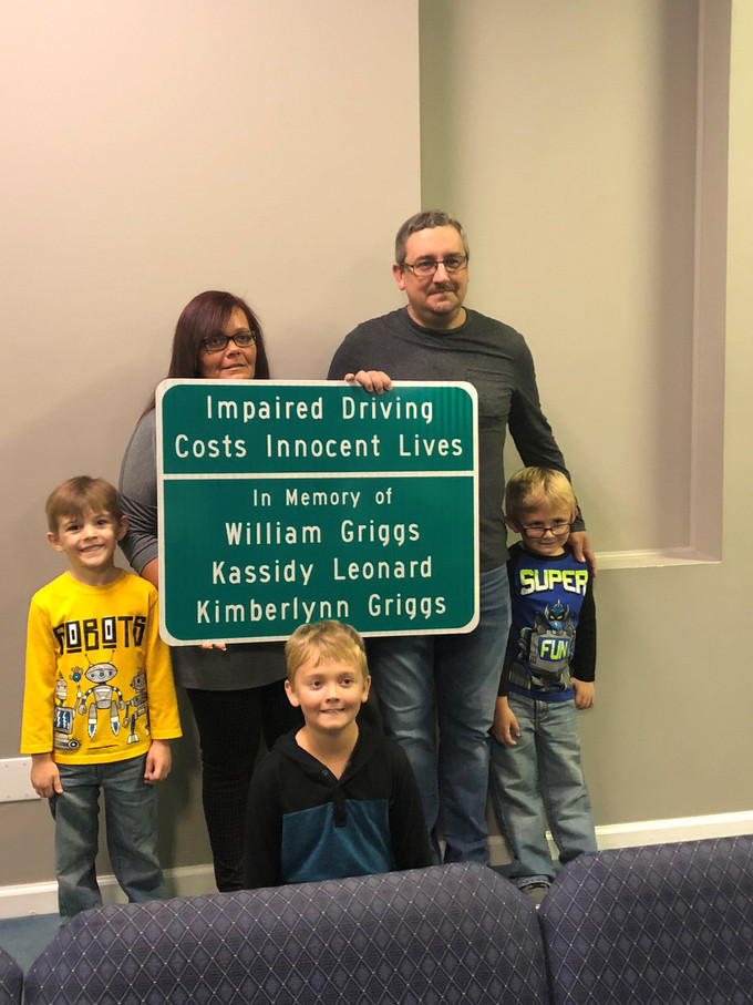 Memorial Sign in Honor of  Griggs Family