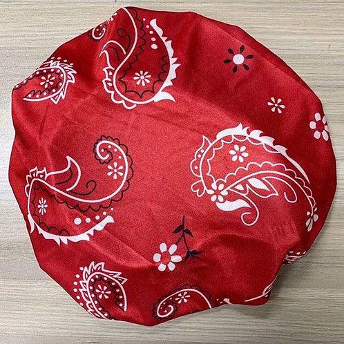 Red Satin Bandana Bonnet