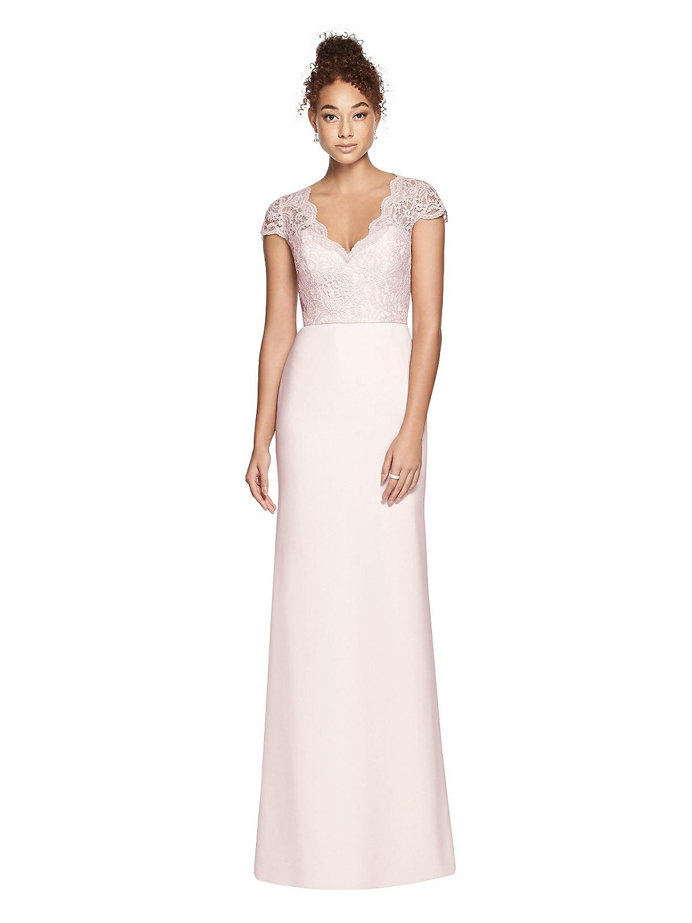 Blush lace Bridesmaid dress, 3023 by Dessy, available at OSh Gosh Gowns boutique in Lincolnshire