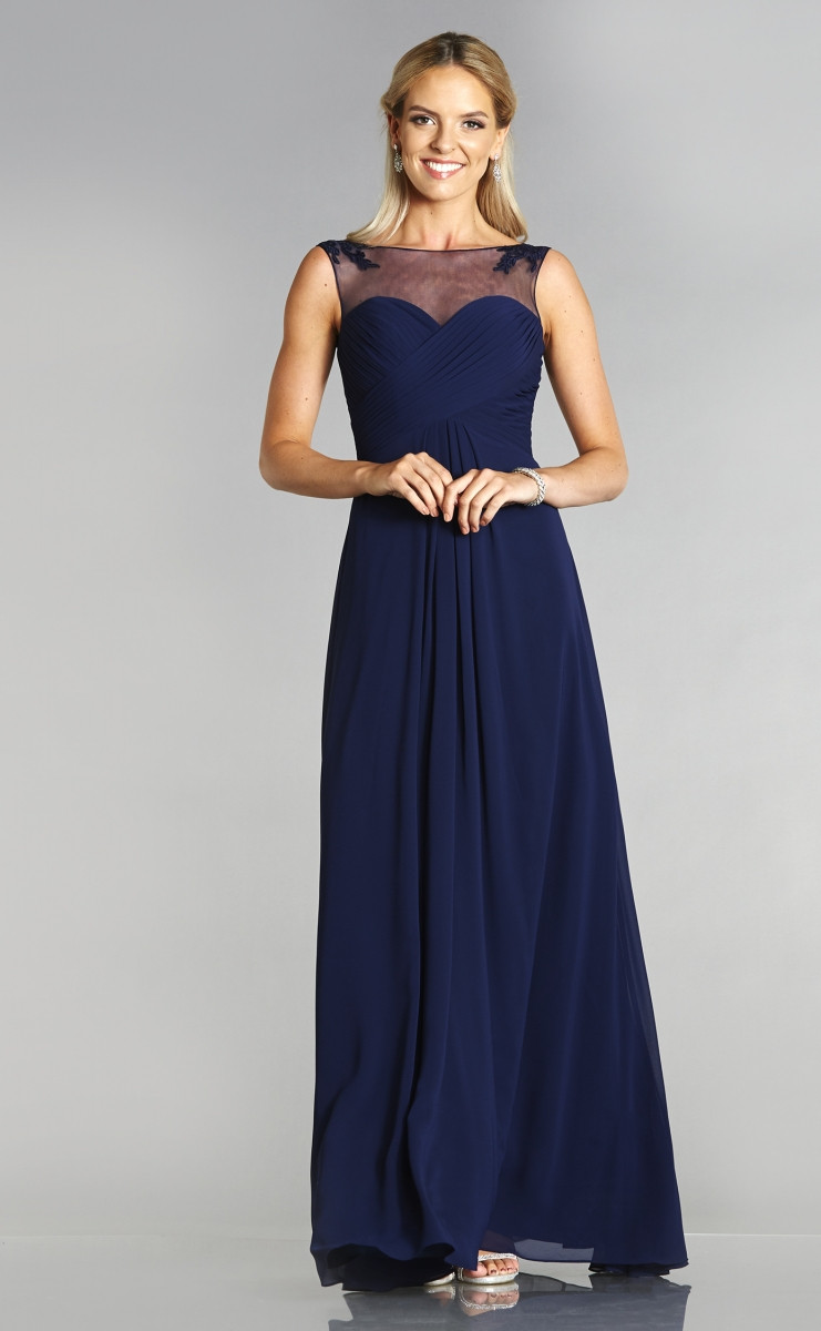 Navy blue Bridesmaids dress with illusion neckline. Available at Osh GOsh GOwns in Lincolnshire