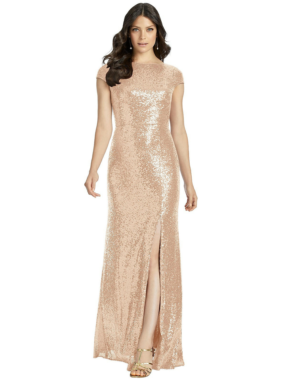 Available in our Lincolnshire boutique, 3043 by Dessy Bridesmaid is a beautiful rose gold sequin gown with a knee high slit