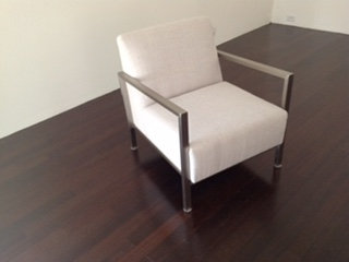 SOLD Occasional Chair with stainless steel frame