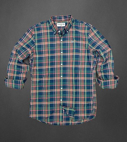 Chemise carreaux marine/orangé