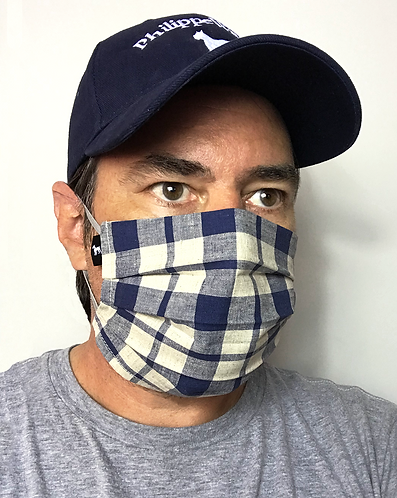 Blue and cream plaid mask