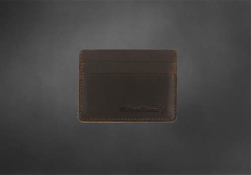 Porte-cartes Vintage cuir brun