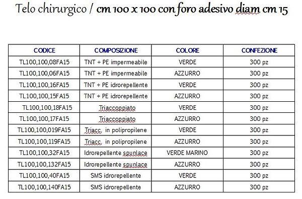 Telo chirurgico cm 100*100 con foro diam cm 15