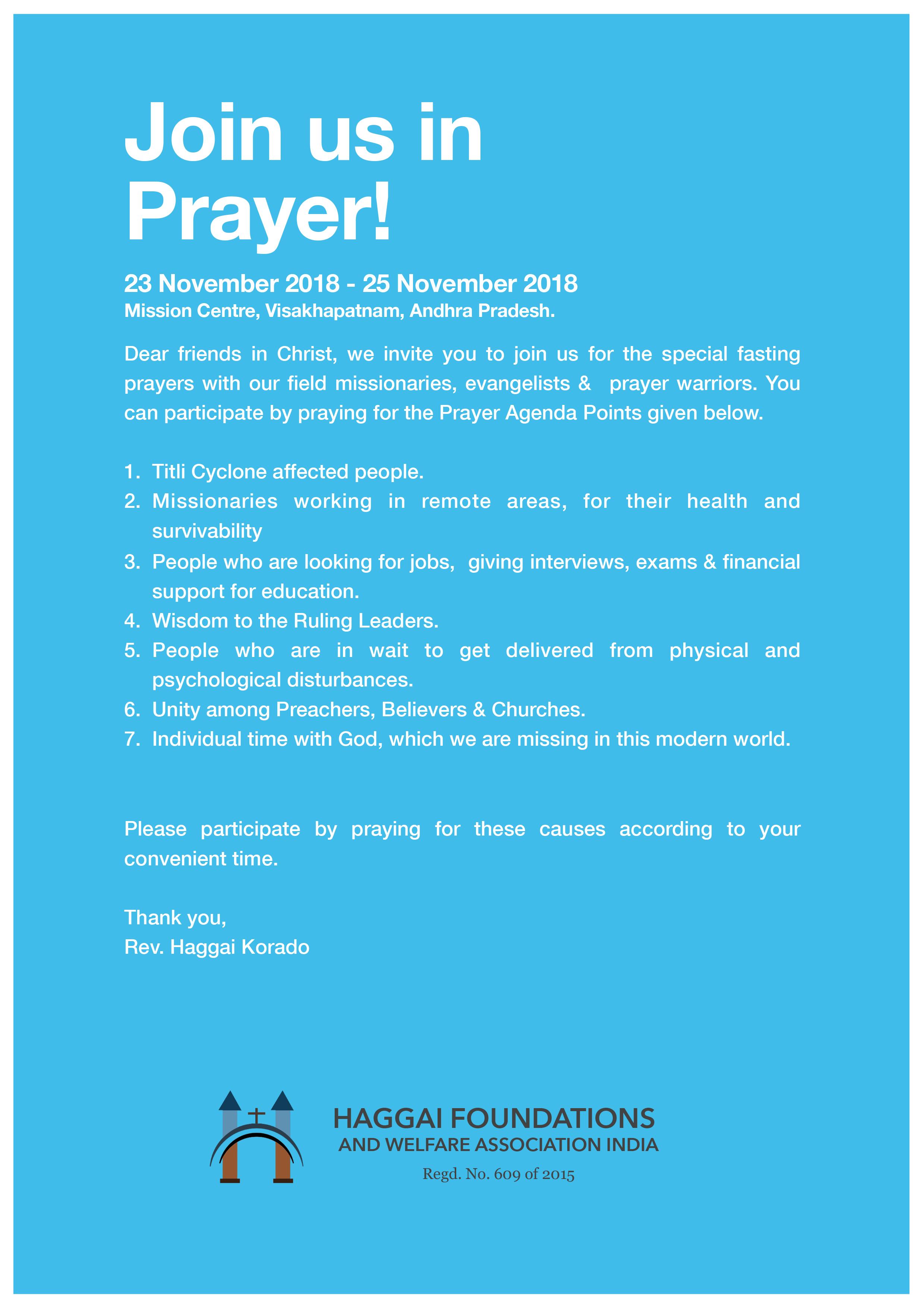 Join us in Prayer!