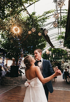 Jess and Tanner first dance at their beautiful spring greenhouse weddingin Newmarket, Ontario