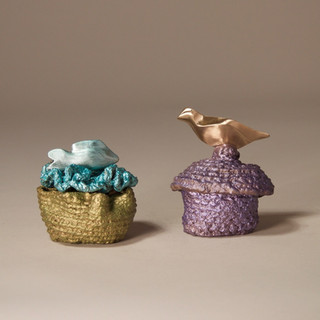 """""""Fish in the Sea"""" Box and Purple Box with Polished Bird"""