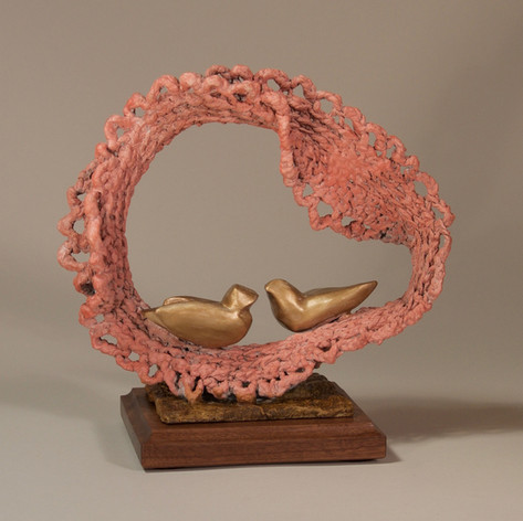 Peach Lace Crochet with Two Gold Birds (view 1)