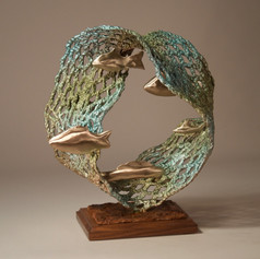 Oval Mesh Reef, Turquoise and Green, Gold Fish (view 1)
