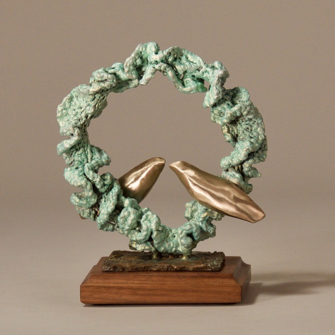 Small Green Crochet Ring with Two Gold Birds (view 1)