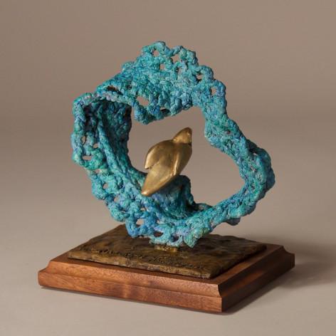 Blue-Green Wave Crochet and Gold Bird (view 2)