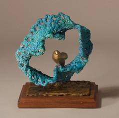 Blue-Green Wave Crochet and Gold Bird (view 1)