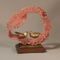 Peach Lace Crochet with Two Gold Birds (view 2)