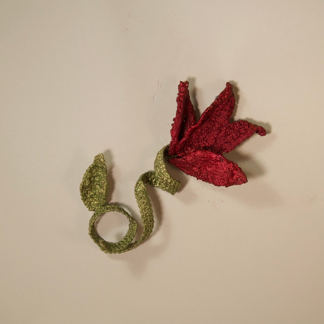 Red Blossom with Curly Vine
