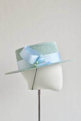 Margaux - Short Brimmed Round Crown Boater Hat (Seafoam)