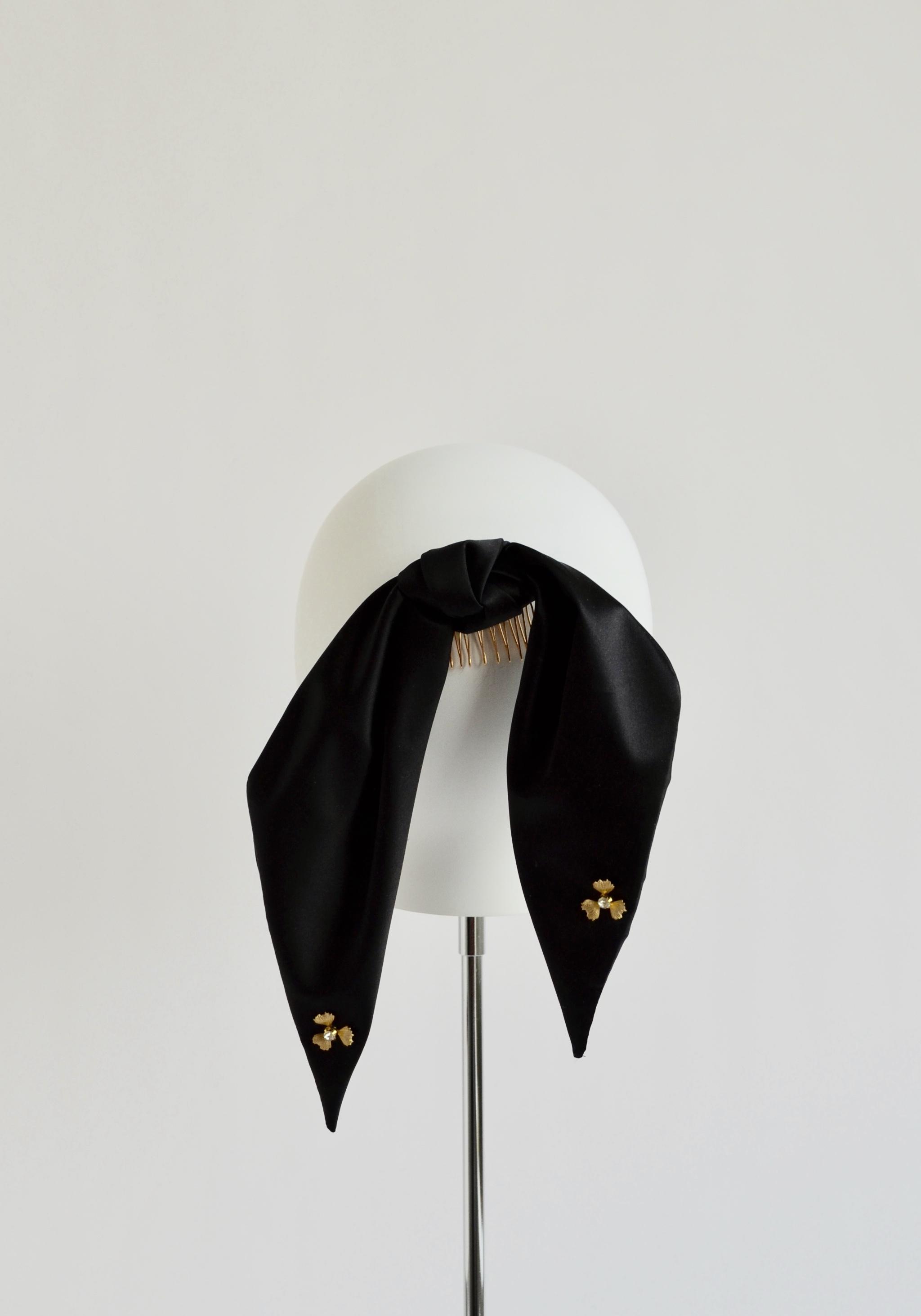Silk Ponytail Bow - Black