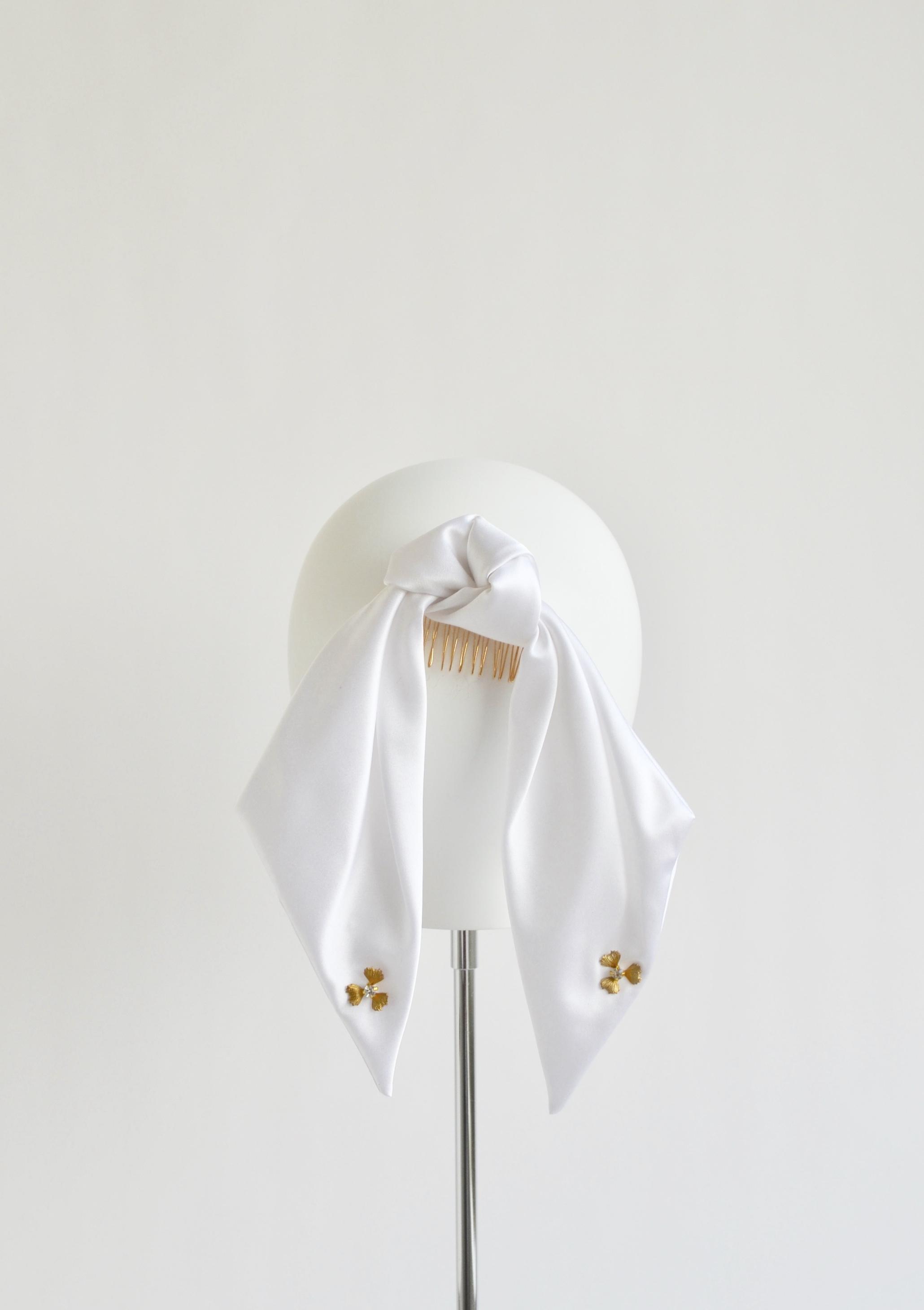 Silk Ponytail Bow - White