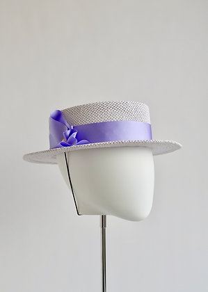 Margaux - Short Brim Oval Crown  Boater Hat (Lilac)