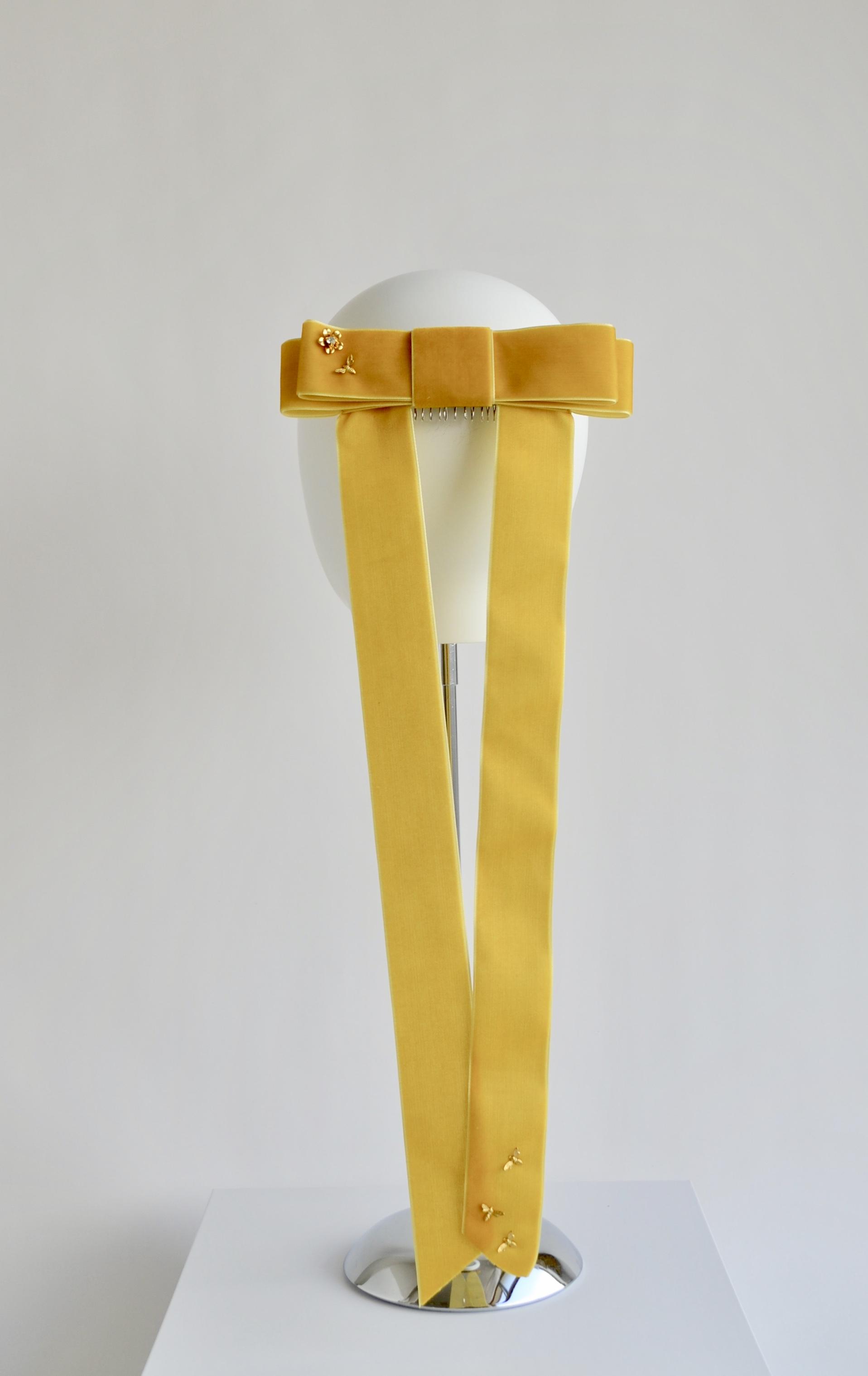 Velvet Ponytail Bow - Mustard
