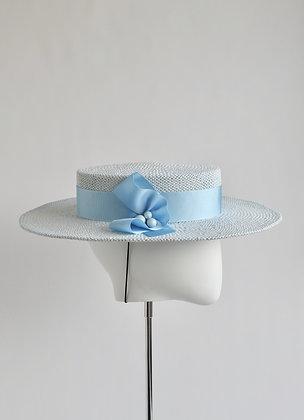 Margaux - Medium Brimmed Oval Crown Boater Hat (Pastel Blue)