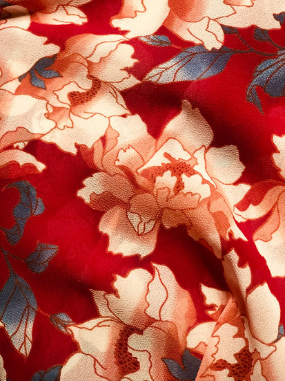 Signature Papillon Wrap - Red and Blue Flower