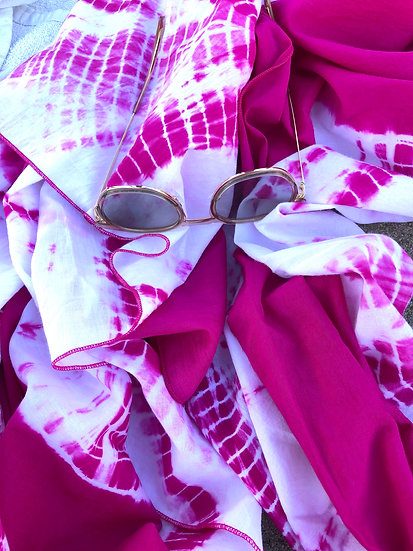 Papillon Wrap - All Cotton Fushia Tie Dye