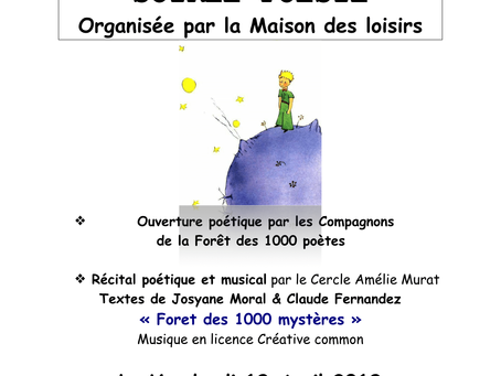 Herisson - Soirée Poésie Vendredi 19 Avril 18 h