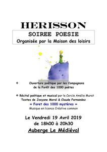 Herisson Soirée Poésie Vendredi 19 Avril 18 H