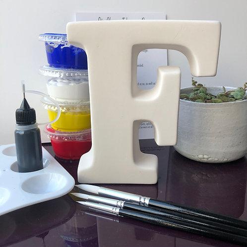 Paint your own  ceramic Alphabet letter. Letter 'F'