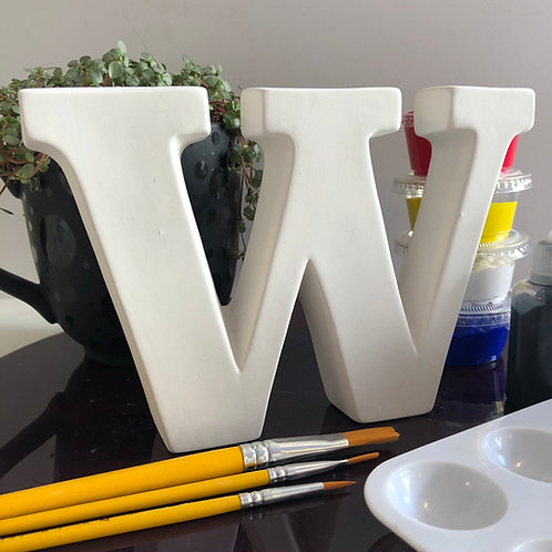 Paint your own  ceramic  Alphabet letter . Letter 'W'