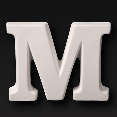 Paint your own ceramic Alphabet letter . Letter 'M'