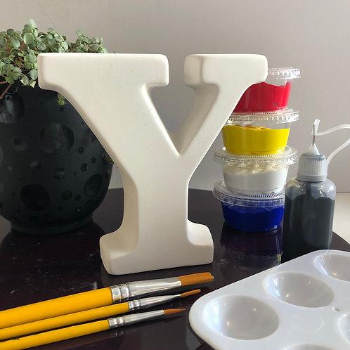 Paint your own ceramic Alphabet letter. Letter 'Y'