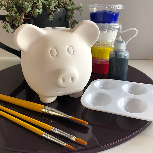 Paint your own  ceramic Piggy Bank box kit