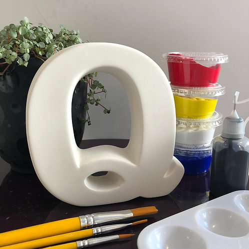 Paint your own  ceramic Alphabet letter . Letter 'Q'