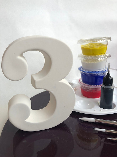 Paint your own ceramic Number. Number Three 3