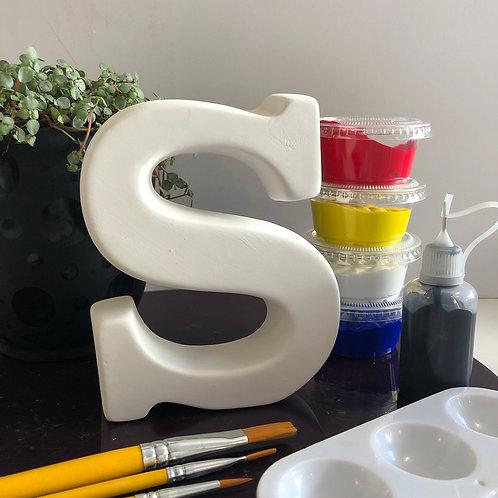 Paint your own  ceramic Alphabet letter. Letter 'S'