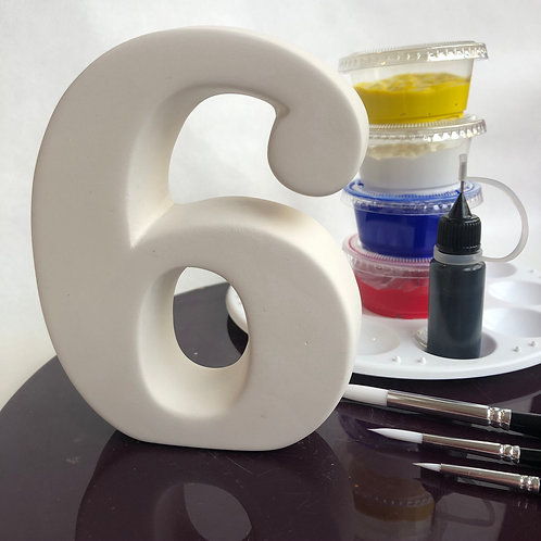 Paint your own ceramic Number. Number Six 6