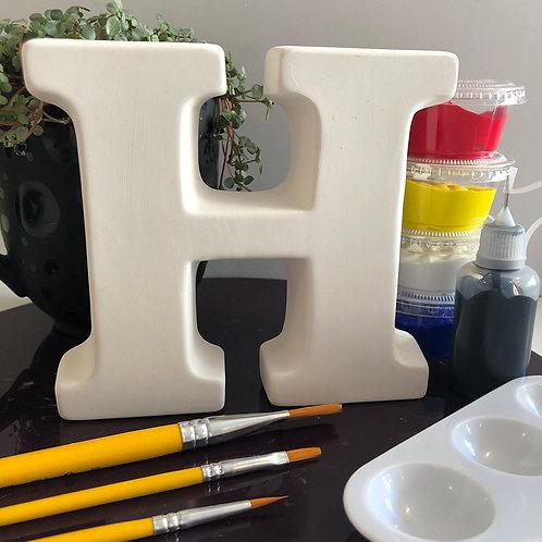 Paint your own ceramic  Alphabet lette. Letter 'H'