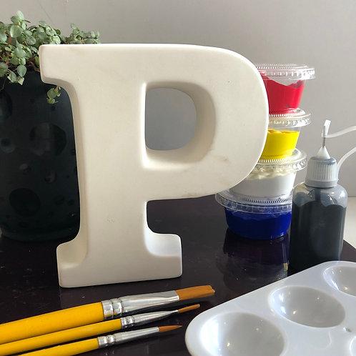 Paint your own  ceramic Alphabet letter. Letter 'P'