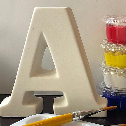 Paint your own Alphabet letter ceramic . Letter 'A'